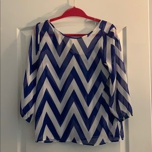Chevron blouse with bow